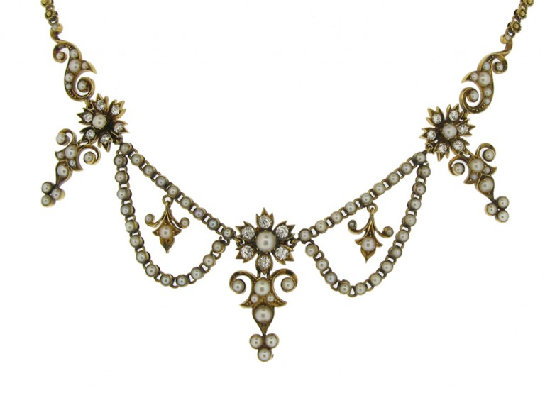 front view Victorian diamond and pearl necklace, circa 1880.