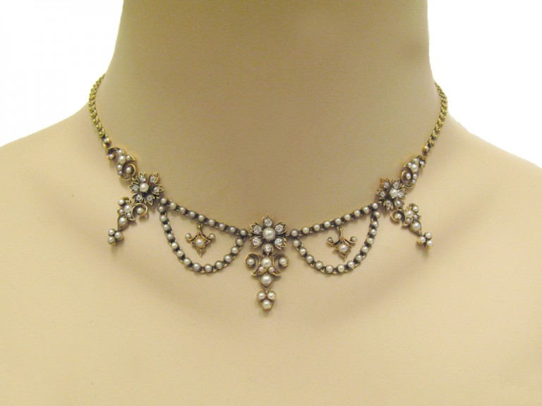 neck veiw Victorian diamond and pearl necklace, circa 1880.