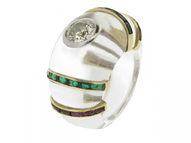 sie view Rene Boivin vintage diamond, emerald and ruby ring in rock crystal