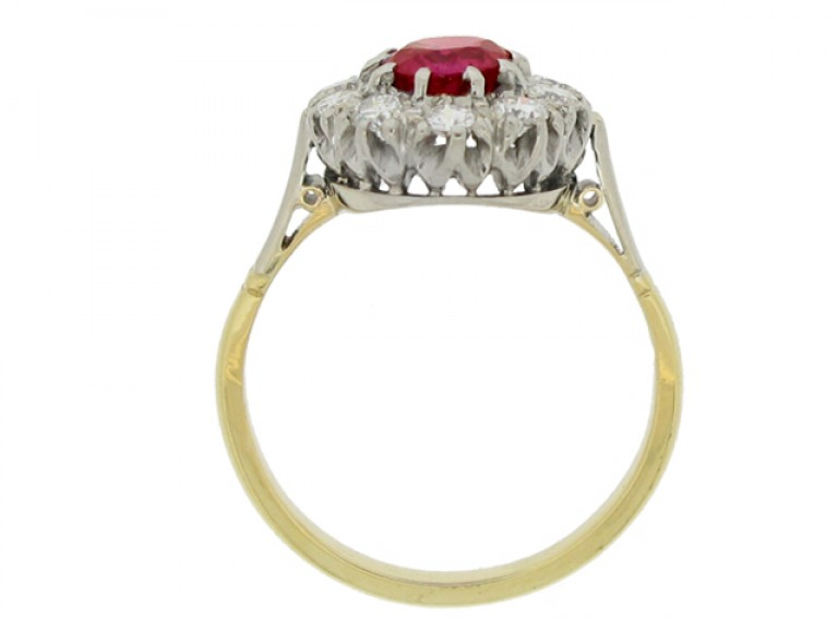 back view Ruby and diamond coronet cluster ring, circa 1940.