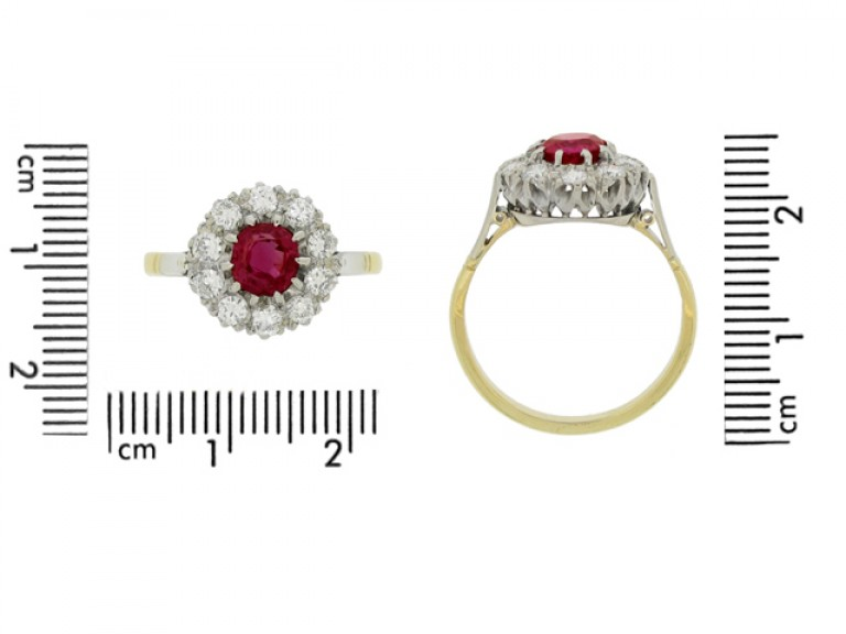 size view Ruby and diamond coronet cluster ring, circa 1940.