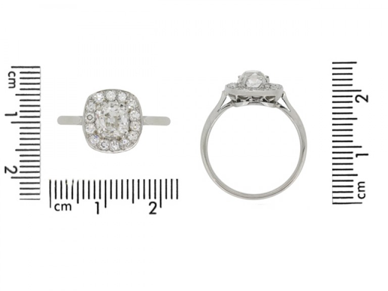 size view Old mine diamond coronet cluster ring, English, circa 1935.