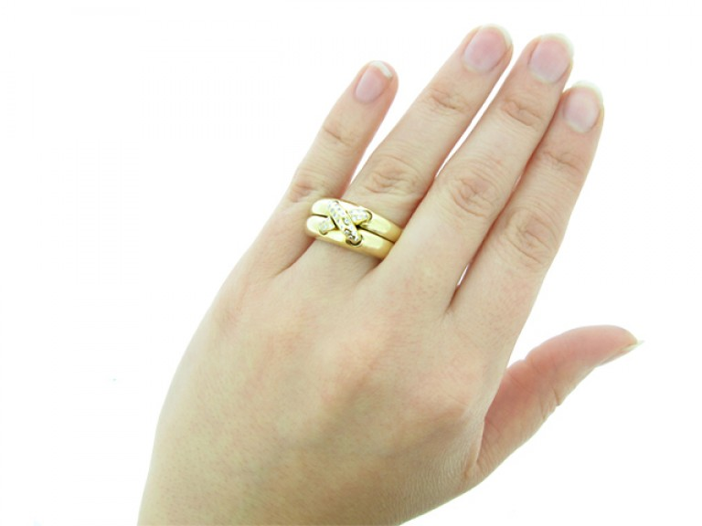 hand view Chaumet diamond ring, circa 1990's.