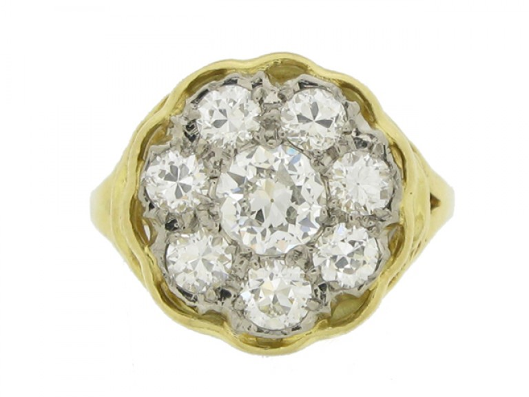 front view Vintage diamond coronet cluster ring,