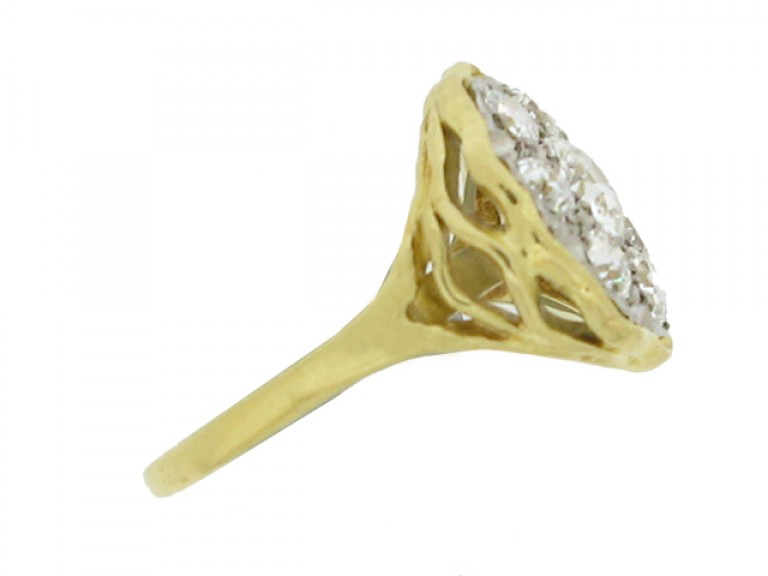 side view Vintage diamond coronet cluster ring,