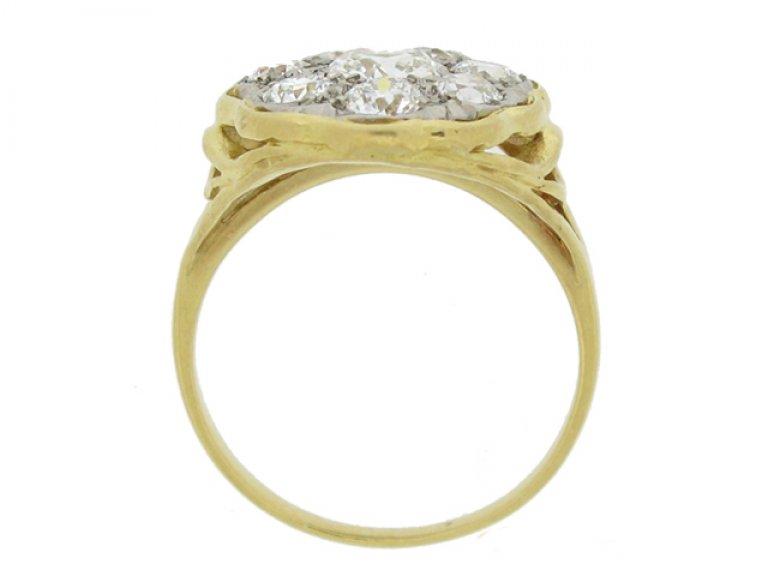 back view Vintage diamond coronet cluster ring,