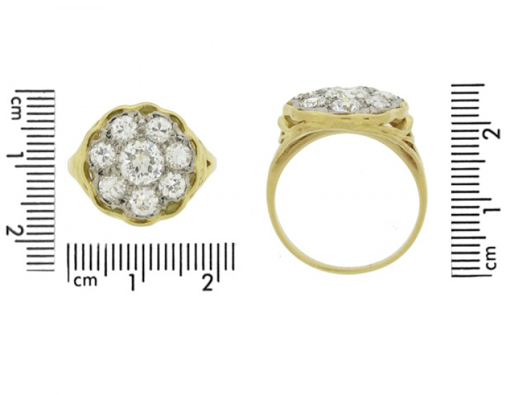 size view Vintage diamond coronet cluster ring,