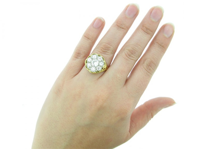 hand view Vintage diamond coronet cluster ring,
