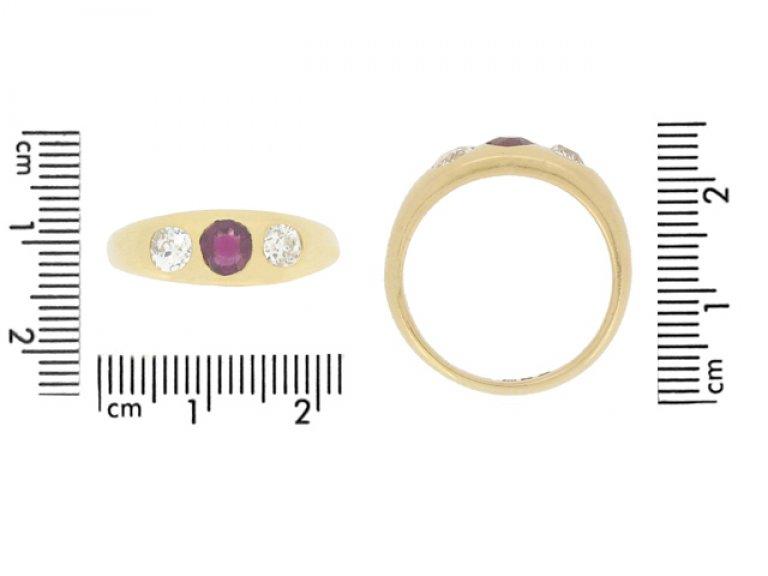 size view Antique ruby and diamond three stone ring, English, circa 1898.
