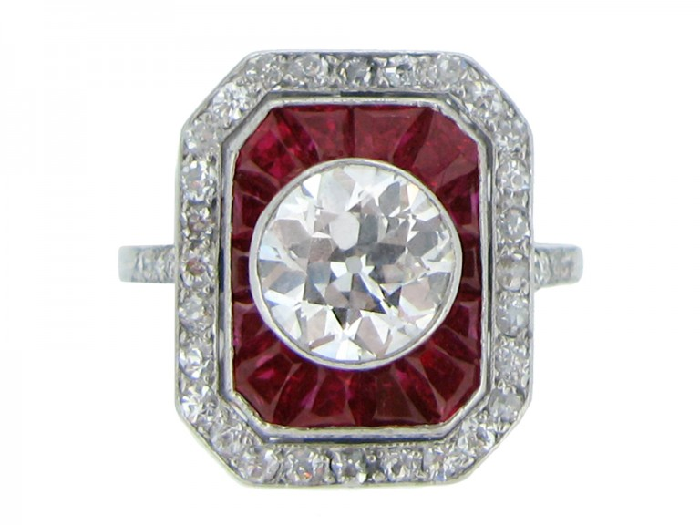 front view Antique ruby and diamond cluster ring,