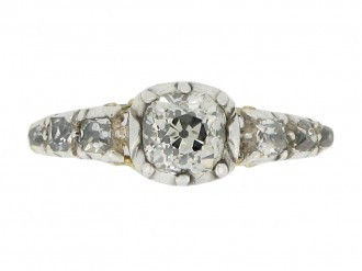 front view Early Victorian diamond ring, circa 1850.