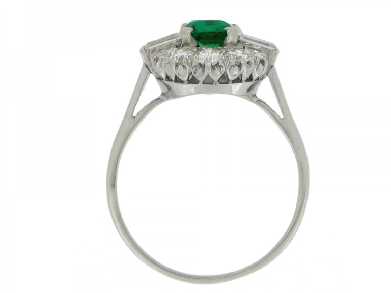 back view Vintage emerald and diamond coronet cluster ring