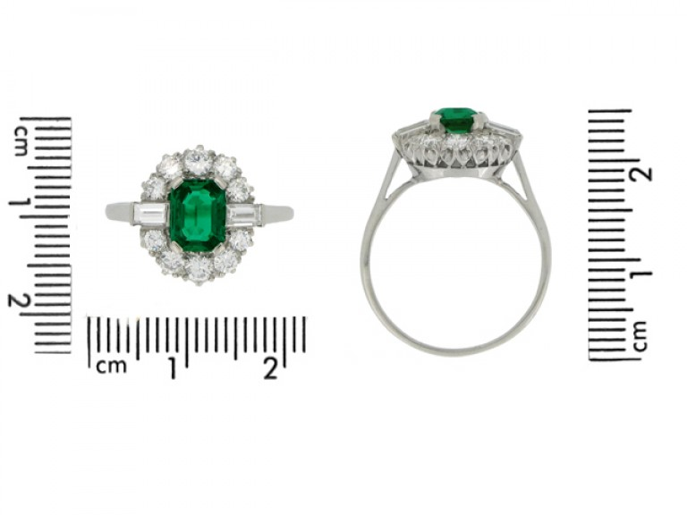 size view Vintage emerald and diamond coronet cluster ring