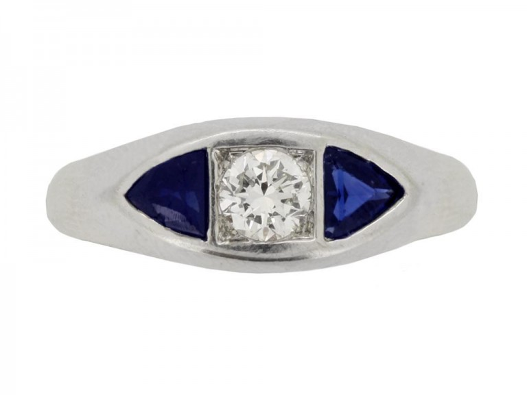 front view Art Deco sapphire and diamond three stone ring,