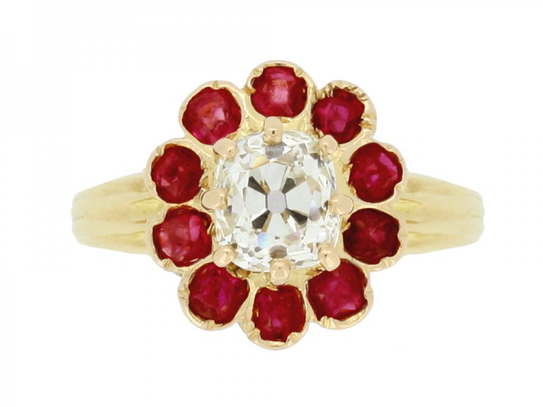 front view Antique cushion shape old mine diamond and ruby coronet cluster ring,