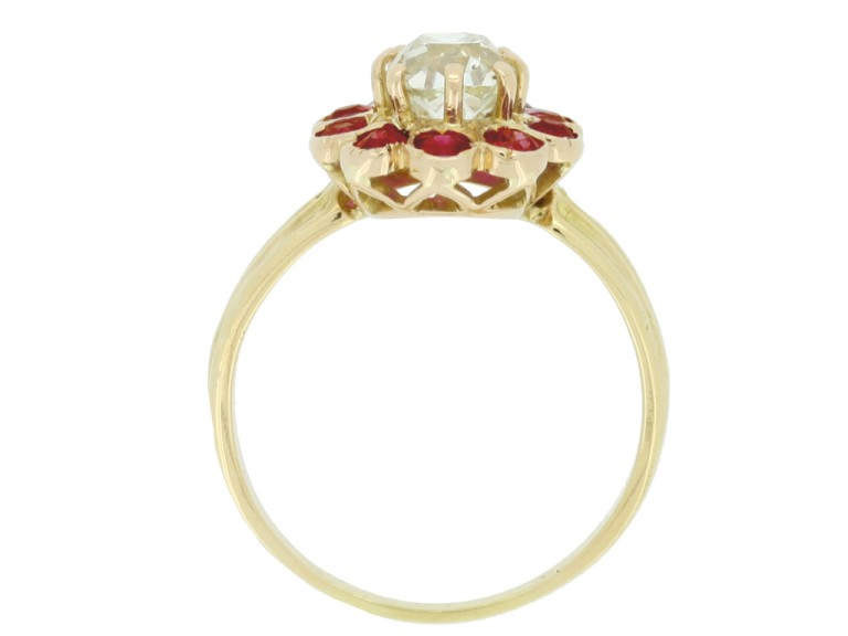 back view Antique cushion shape old mine diamond and ruby coronet cluster ring,
