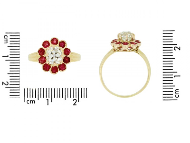 size veiw Antique cushion shape old mine diamond and ruby coronet cluster ring,