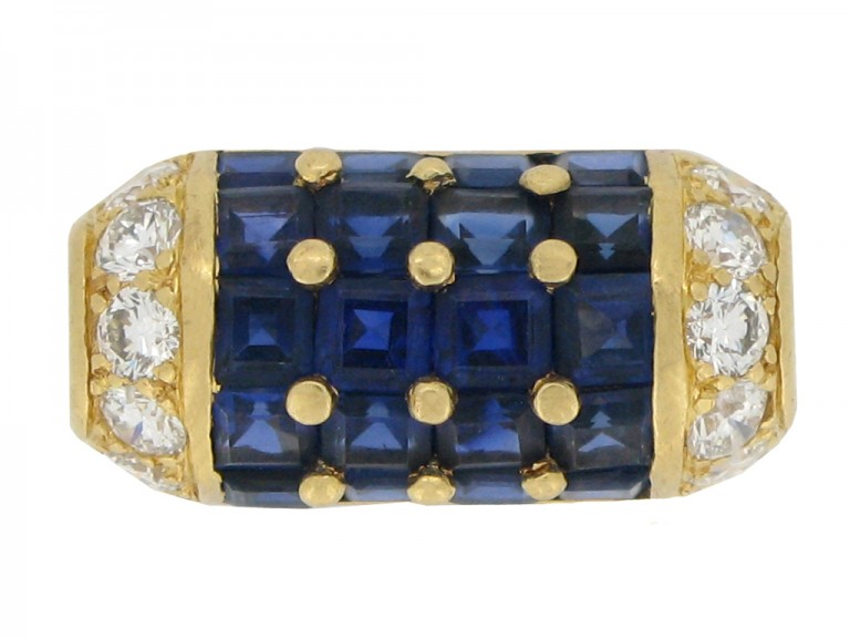 front view Oscar Heyman Brothers vintage sapphire and diamond cocktail ring, American, circa 1960.