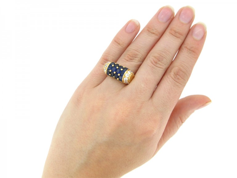 Oscar Heyman Brothers vintage sapphire and diamond cocktail ring, American, circa 1960.