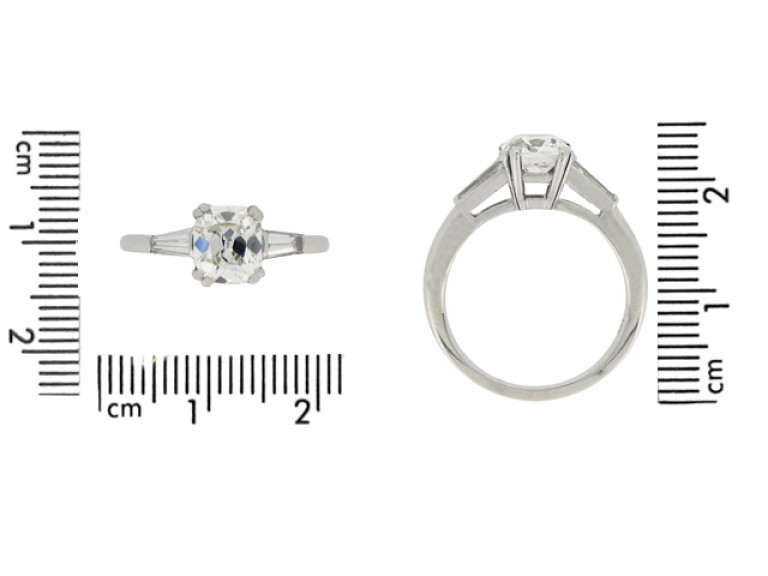 size view Cushion shape old mine diamond ring, circa 1950.