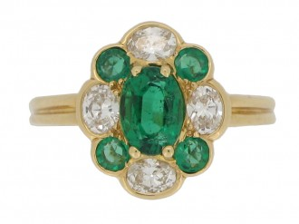 front view Oscar Heyman Brothers vintage emerald and diamond cluster ring
