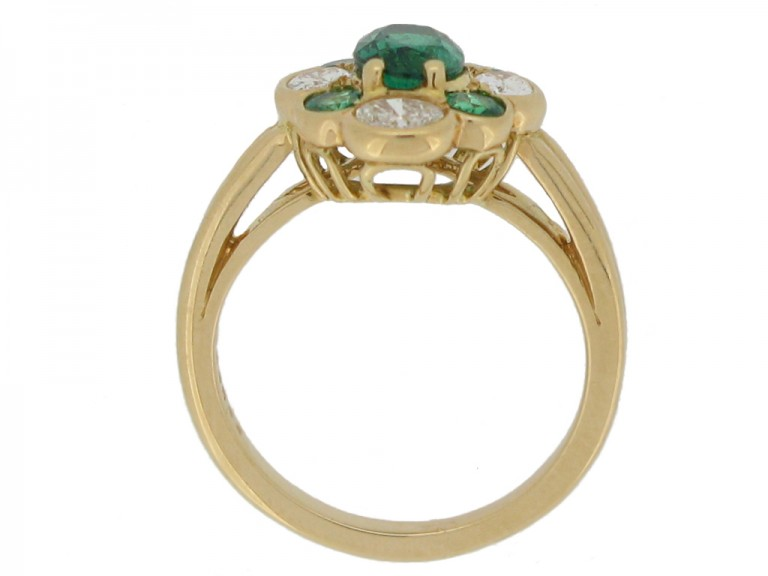back view Oscar Heyman Brothers vintage emerald and diamond cluster ring