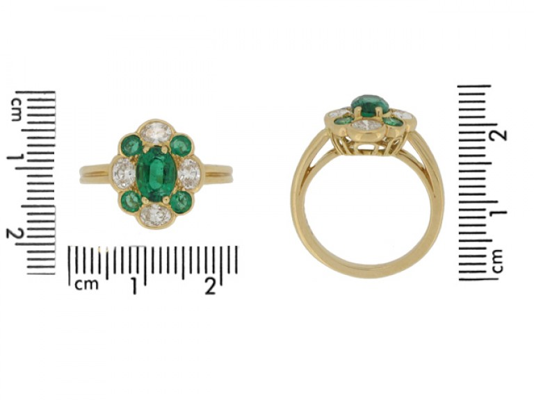 size view Oscar Heyman Brothers vintage emerald and diamond cluster ring