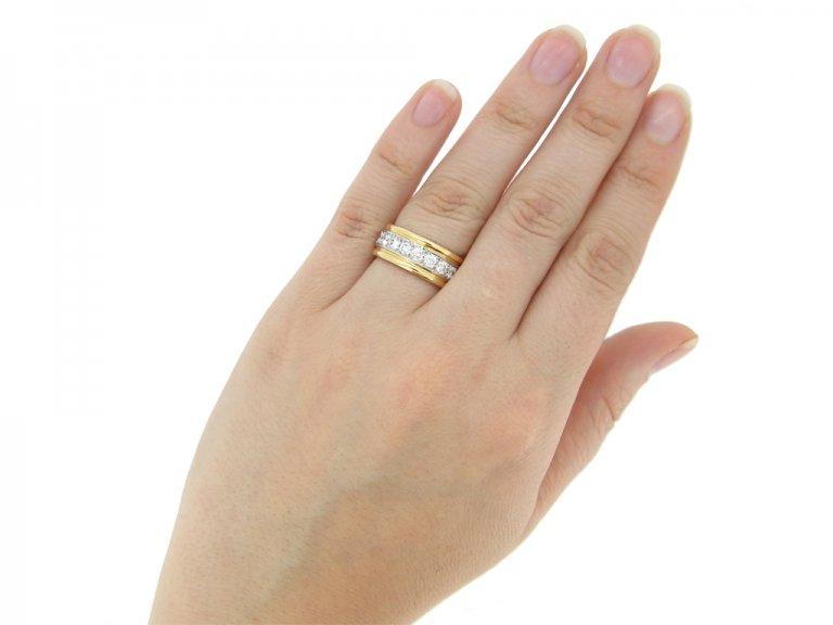 hand view Oscar Heyman Brothers vintage diamond band ring