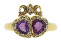 front view Victorian garnet and diamond double heart ring, circa 1870.