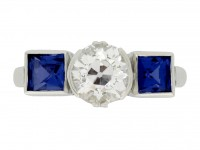front veiw Art Deco sapphire and diamond ring, circa 1930.