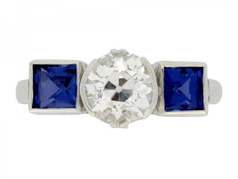 front veiw Art Deco sapphire and diamond ring, circa 1930.