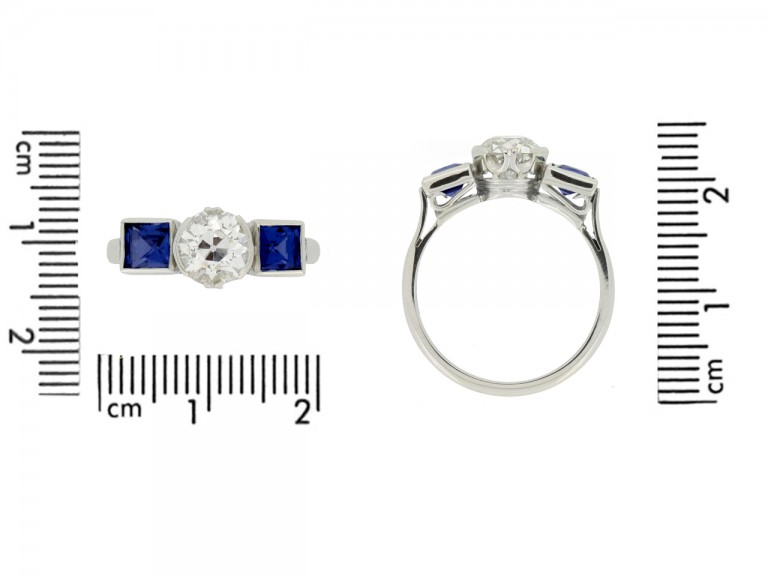 size view Art Deco sapphire and diamond ring, circa 1930.