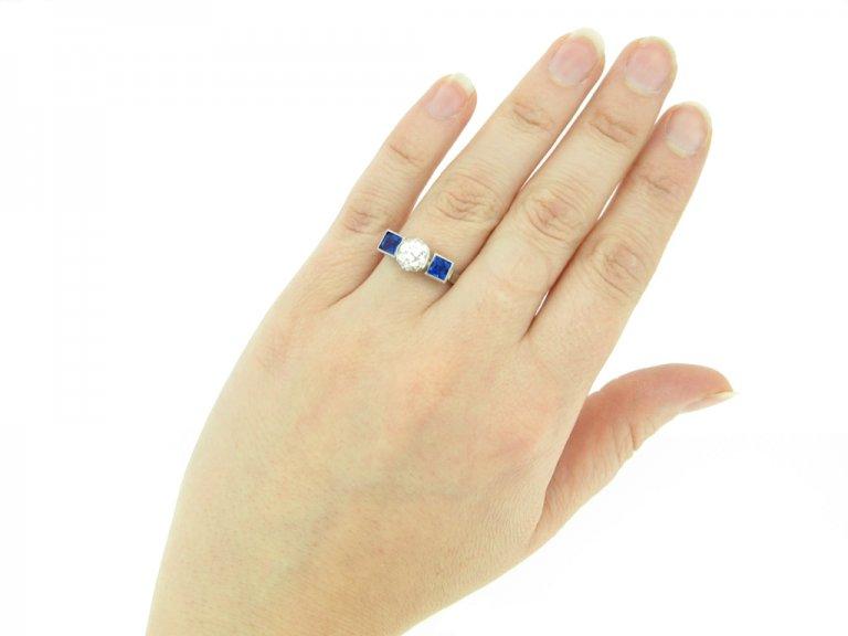 hand view Art Deco sapphire and diamond ring, circa 1930.