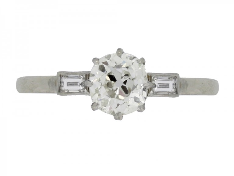 front view Solitaire old mine diamond ring with baguette shoulders