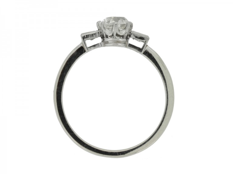 back view Solitaire old mine diamond ring with baguette shoulders