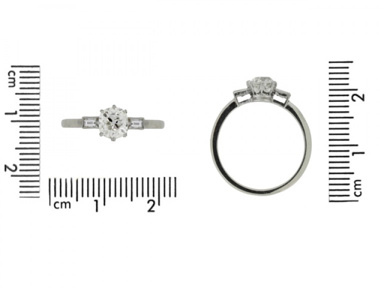 size view Solitaire old mine diamond ring with baguette shoulders