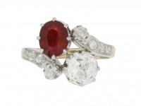 front antique ruby diamond ring berganza hatton garden