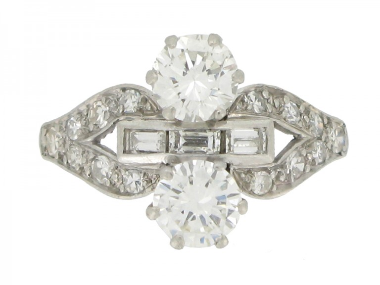 front view Art Deco two stone diamond cluster ring, circa 1935.