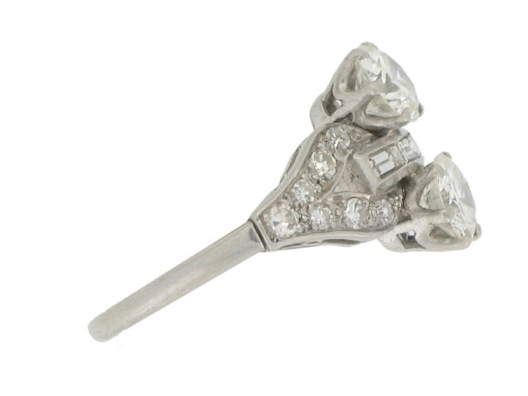 side view Art Deco two stone diamond cluster ring, circa 1935.