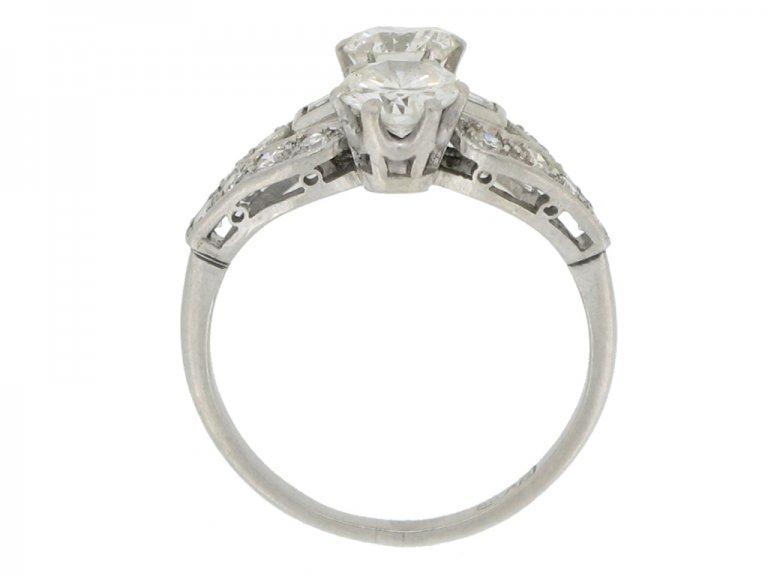 back view Art Deco two stone diamond cluster ring, circa 1935.