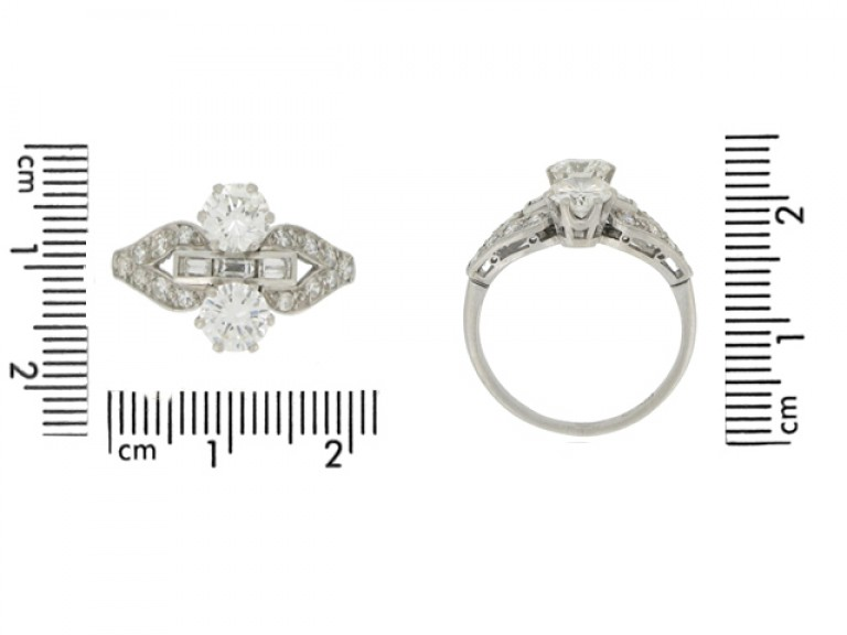 size view Art Deco two stone diamond cluster ring, circa 1935.