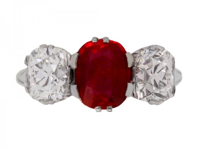 front view Natural Burmese ruby and diamond three stone ring, circa 1910. berganza hatton garden