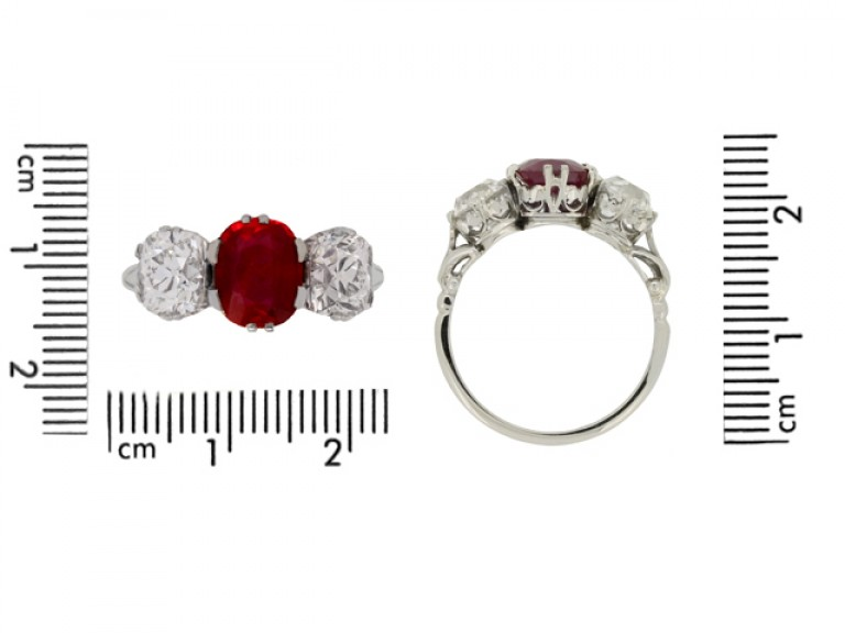 size view Natural Burmese ruby and diamond three stone ring, circa 1910. berganza hatton garden