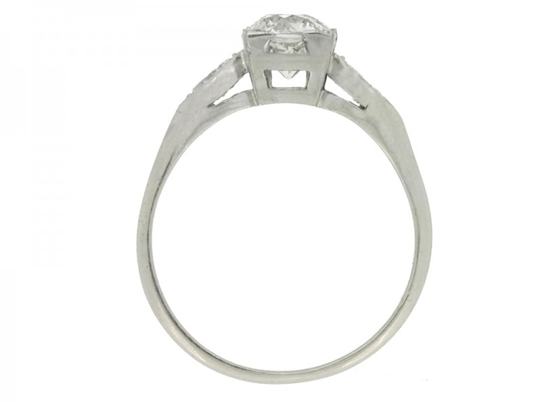 back view Solitaire diamond ring with marquise diamond set shoulders