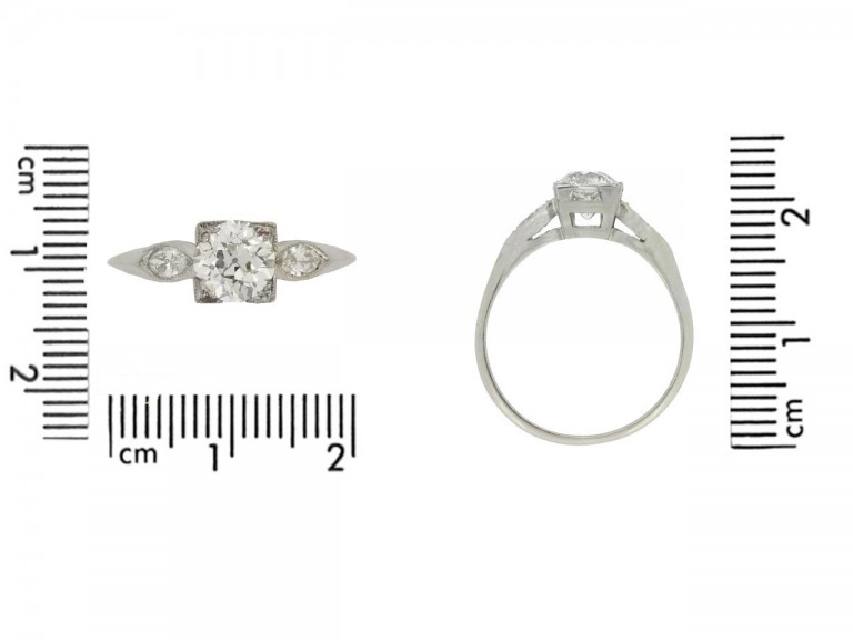size view Solitaire diamond ring with marquise diamond set shoulders
