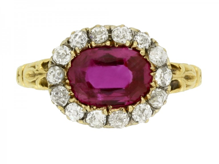 front view Early Victorian Burmese ruby and diamond coronet cluster ring, circa 1850. berganza hatton garden