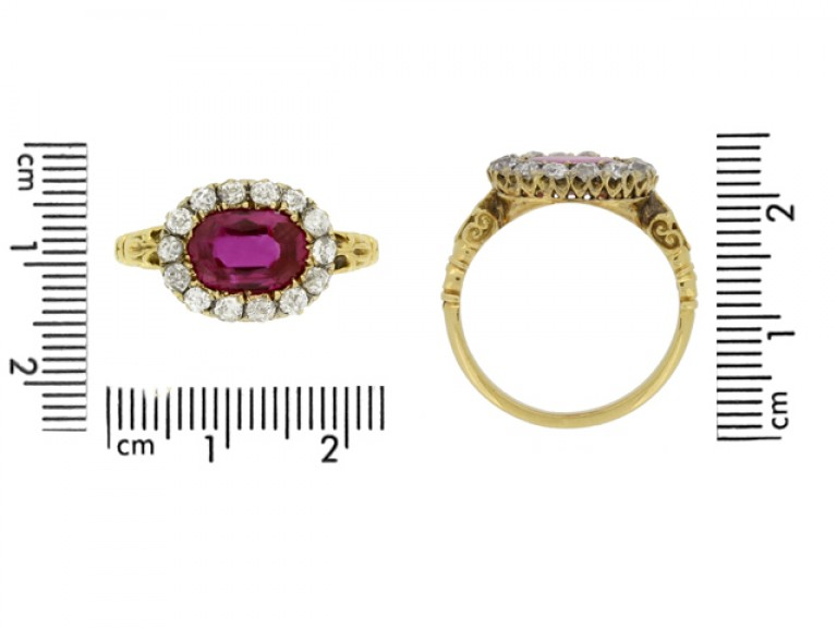 size view Early Victorian Burmese ruby and diamond coronet cluster ring, circa 1850. berganza hatton garden