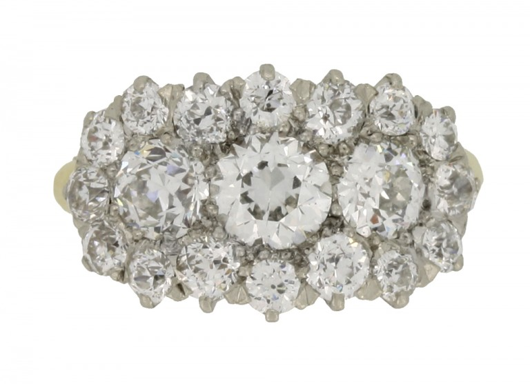front view Benedict Bros. diamond triple cluster ring, circa 1920.