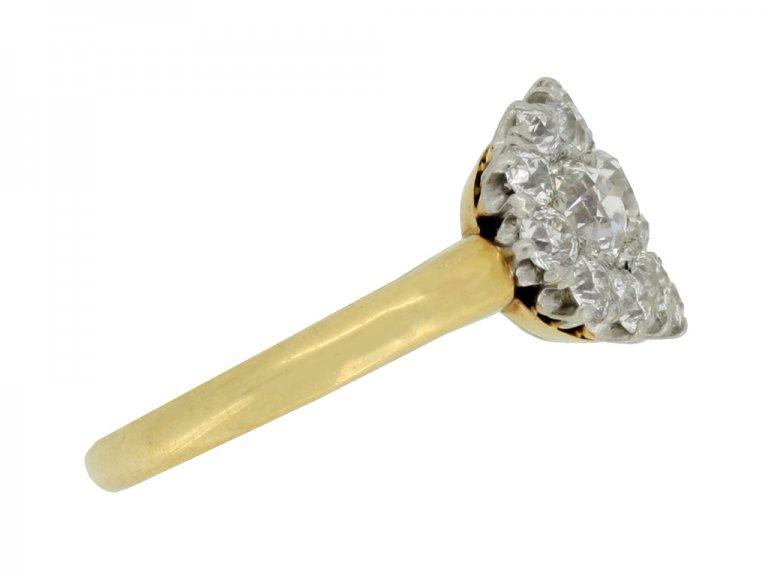 side view Benedict Bros. diamond triple cluster ring, circa 1920.