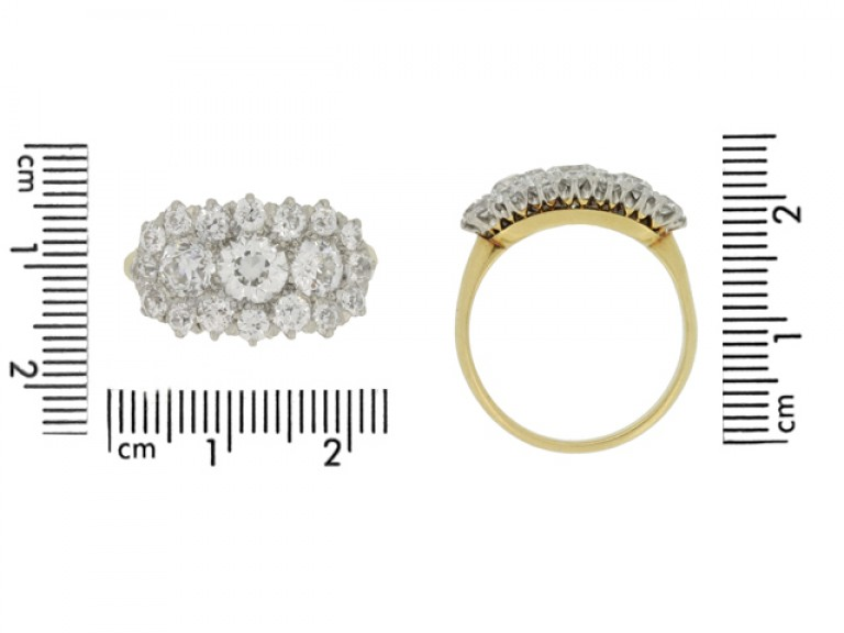 size view Benedict Bros. diamond triple cluster ring, circa 1920.